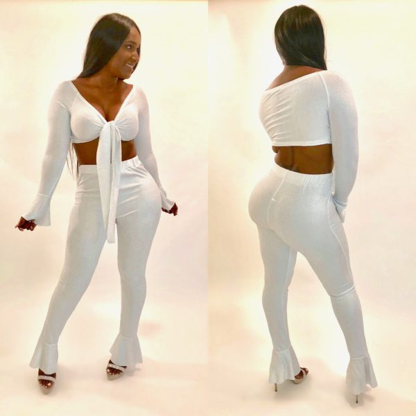 White 2 piece sequin set